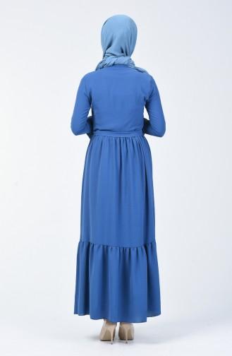 Krawatte Kragen Kleid aus Aerobin Stoff 0064-05 Indigo 0064-05