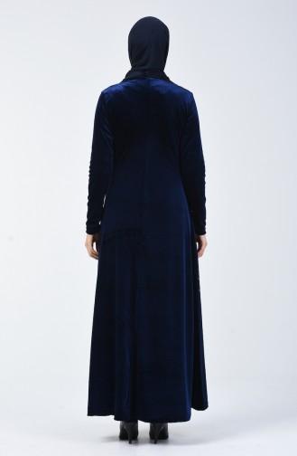 Taş Baskılı Kadife Elbise 19802-01 Lacivert