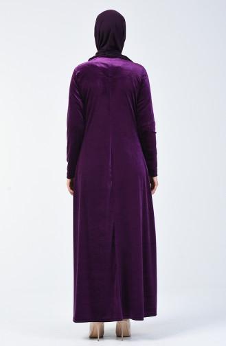 Taş Baskılı Kadife Elbise 19802-03 Mor