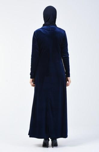 Taş Baskılı Kadife Elbise 19803-02 Lacivert