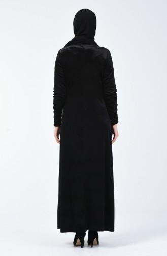 Robe Velours İmprimée de Pierre 19803-03 Noir 19803-03