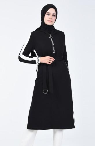 Kapüşonlu Uzun Spor Tunik 50654-02 Siyah