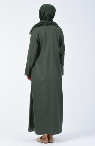Abaya Brodée  0096-03 Vert Khaki 0096-03