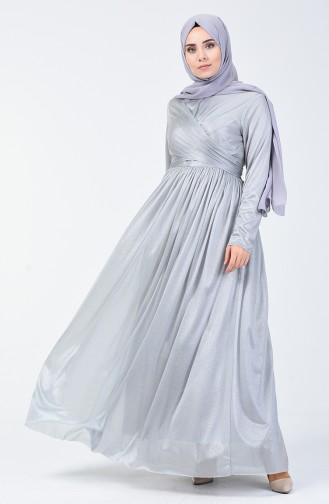 Robe de Soirée à Paillettes 0246-03 Gris 0246-03