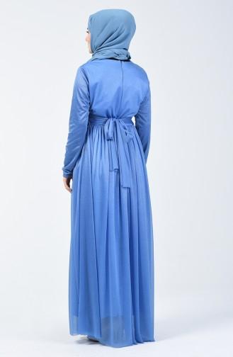 Blue İslamitische Avondjurk 0246-07