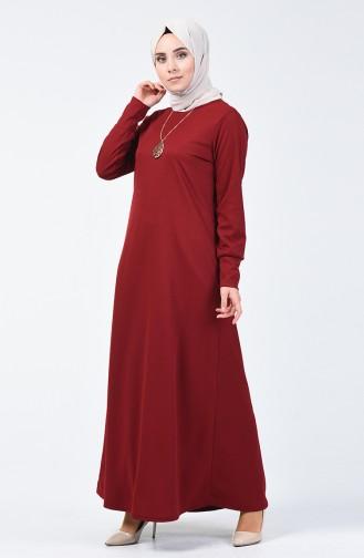 Kolyeli Elbise 0025-06 Bordo