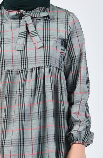 فستان مطوي مع ربطة عنق كاكي 1368A-01