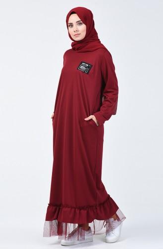 Claret red İslamitische Jurk 4170-02