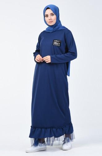 Tulle Detailed Sport Dress 4170-04 Navy Blue 4170-04