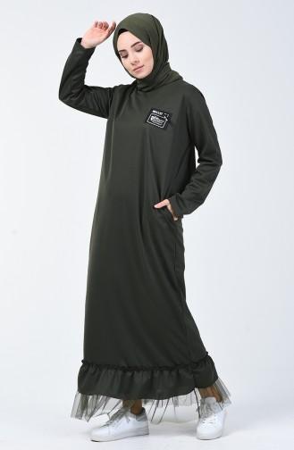 Tulle Detailed Sport Dress 4170-05 Khaki 4170-05