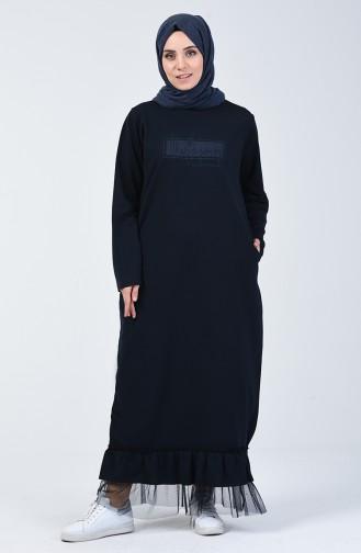 Navy Blue Hijab Dress 4093-04