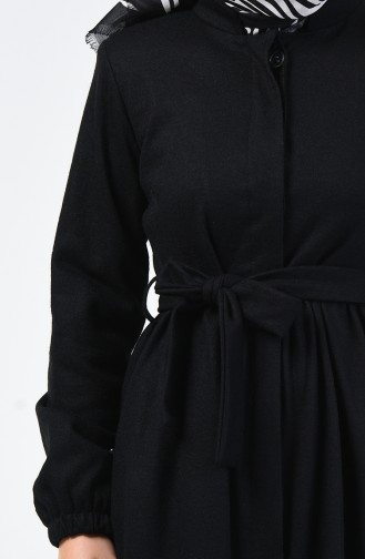 Concealed Button Belted Coat Black 0850A-01