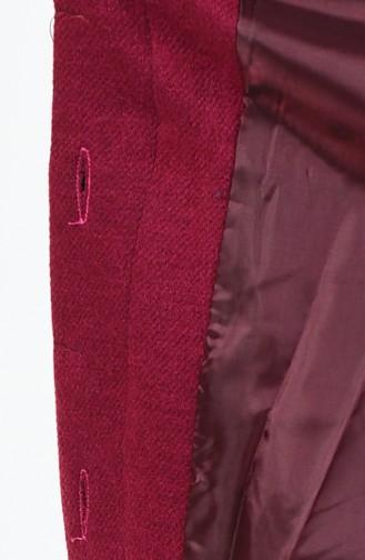 معطف بحزام وأزرار مخفية أرجواني داكن 0850A-04