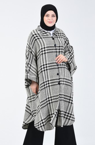 Winter Felt Poncho Black White 9001A-01