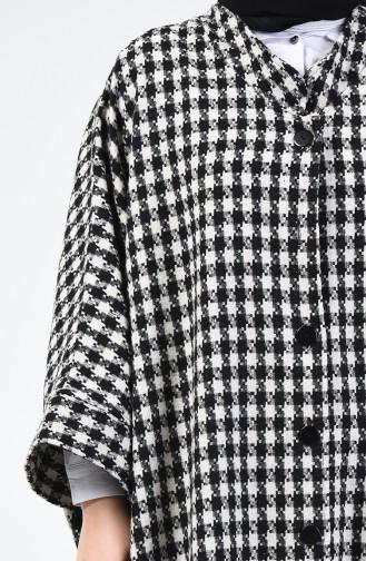 Winter Felt Poncho Black White 9001B-01