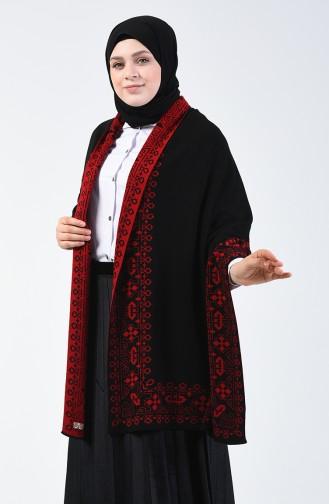 شال كتف تريكو منقوش أسود وأحمر 1009N-03