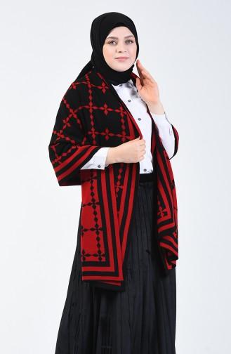 شال كتف تريكو منقوش أسود وأحمر 1009S-03