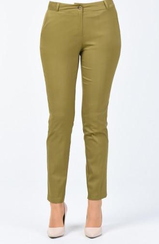 Pantalon Classique avec Poches 1353PNT-01 Vert Huile 1353PNT-01