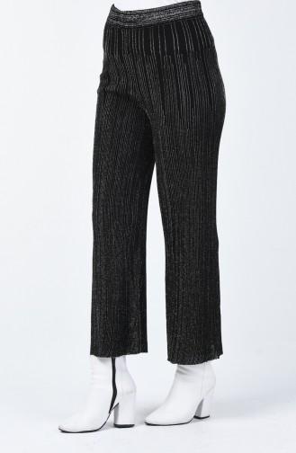 Pantalon Tricot Large à Paillettes 14293-01 Noir 14293-01