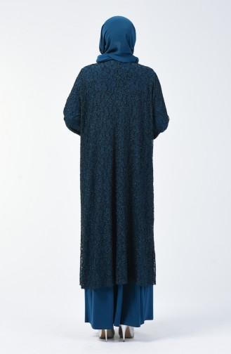 Büyük Beden Takım Görünümlü Abiye Elbise 1066-04 Petrol