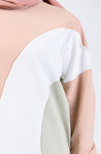 Sweatshirt à Dégradé de Couleur 0826-02 Café au Lait 0826-02