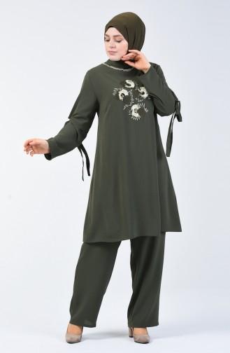 Büyük Beden Aerobin Kumaş Tunik Pantolon İkili Takım 7936-03 Haki