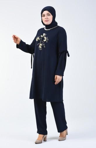 Büyük Beden Aerobin Kumaş Tunik Pantolon İkili Takım 7936-04 Lacivert