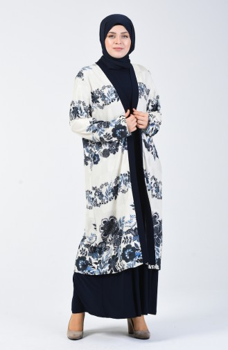 Büyük Beden Jakarlı Ceket Elbise İkili Takım 7945-01 Lacivert