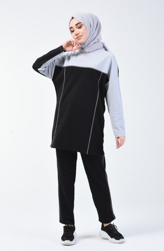 Spor Tunik Pantolon İkili Takım 0832-01 Gri Siyah