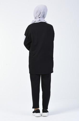 Ensemble Sport Tunique Pantalon Deux Pieces 0832-01 Gris Noir 0832-01
