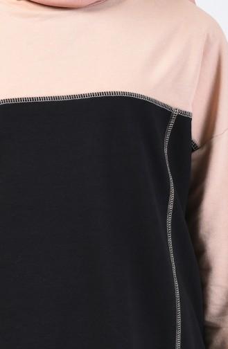 Ensemble Sport Tunique Pantalon Deux Pieces 0832-02 Saumon Foncé Noir 0832-02