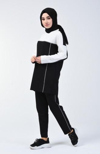 Ensemble Sport Tunique Pantalon Deux Pieces 0832-04 Blanc Noir 0832-04
