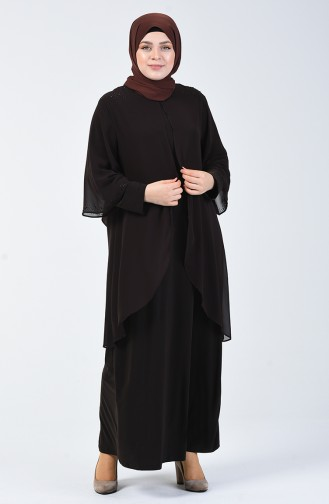 Büyük Beden Taş Baskılı Düz Elbise 7802-01 Kahverengi
