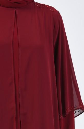 Büyük Beden Taş Baskılı Düz Elbise 7802-02 Bordo