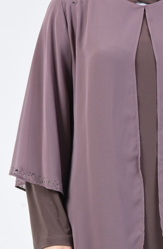 Büyük Beden Taş Baskılı Düz Elbise 7802-04 Vizon