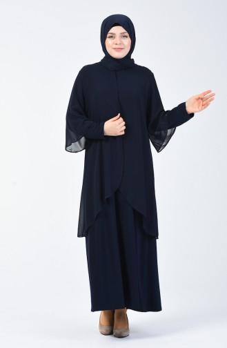 Büyük Beden Taş Baskılı Düz Elbise 7802-06 Lacivert