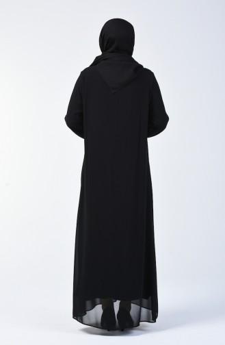 Büyük Beden Taş Baskılı Elbise 7820-01 Siyah