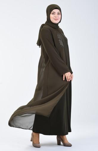 Büyük Beden Taş Baskılı Elbise 7820-05 Haki