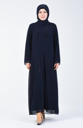 Büyük Beden Taş Baskılı Elbise 7820-06 Lacivert