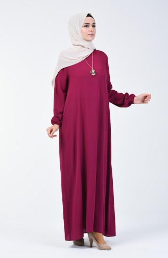 Şile Bezi Kolyeli Elbise 0023-14 Fuşya