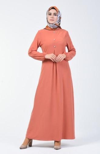 Aerobin Kumaş Kolu Lastikli Elbise 0050-07 Soğan Kabuğu
