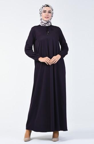 Kolu Lastikli Elbise 1811-05 Koyu Mor