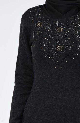 Taş Baskılı Elbise 0309-04 Siyah