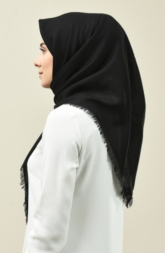 Self Patterned Cotton Scarf Black 13164-08
