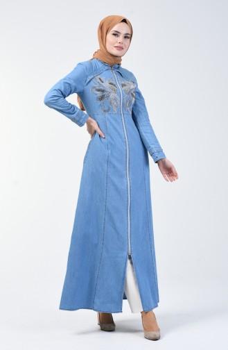 Taş Baskılı Kot Ferace 4107-01 Kot Mavi