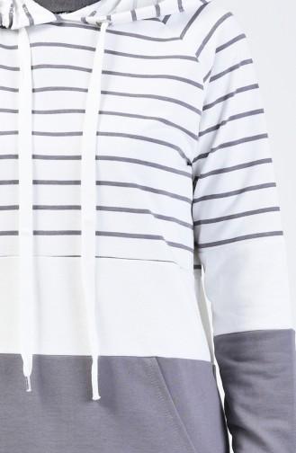 Sweatshirt à Rayures avec Capuche 0828-02 Gris 0828-02