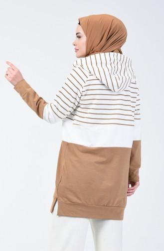 Sweatshirt à Rayures avec Capuche 0828-04 Café au Lait 0828-04
