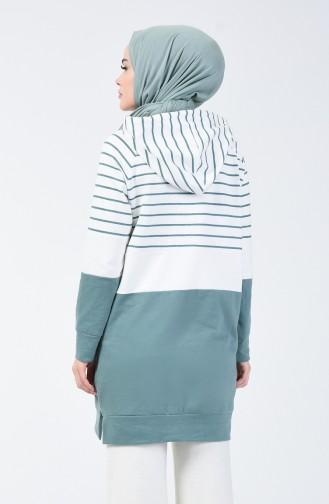 Sweatshirt à Rayures avec Capuche 0828-05 Vert Noisette 0828-05