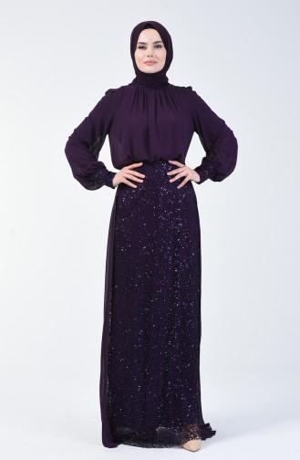 Sequined Evening Dress Purple 5230-06