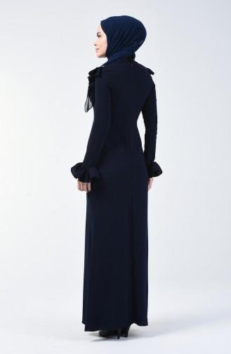 Robe de Soirée İmprimée Pierre 5256-01 Bleu Marine 5256-01